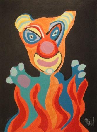 Incisione Su Legno Appel - Blatt der Folge Circus / Cirque, Soleil du Monde
