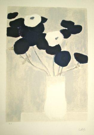 Litografia Cathelin - Blue and White Anemones