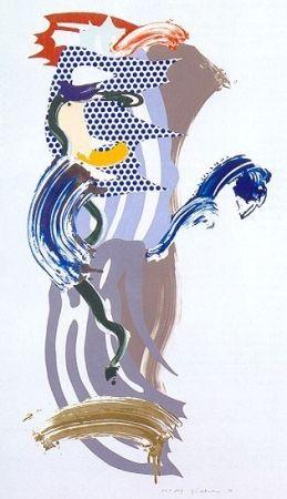 Serigrafia Lichtenstein - Blue Face, Brushstoke Figure Series