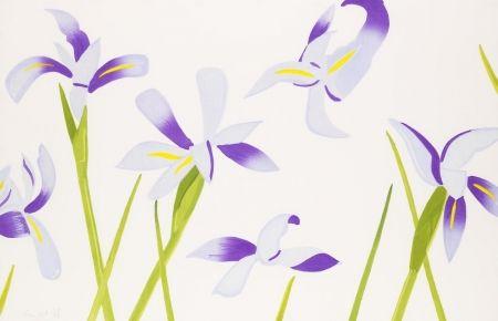 Incisione Su Legno Katz - Blue Irises