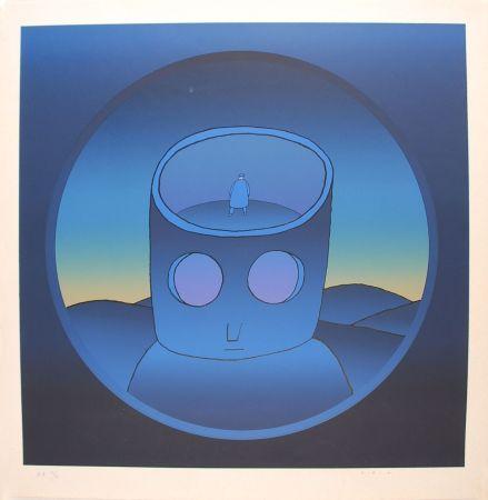 Serigrafia Folon - Blue Man - L'Homme Bleu