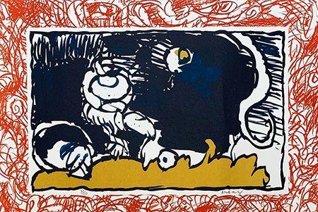 Litografia Alechinsky - Bonnet blanc