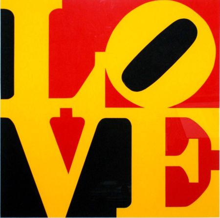 Serigrafia Indiana - Book Of Love #9 (Black, Yellow, And Red - German Love)