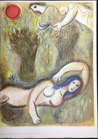 Litografia Chagall - Booz Se Réveille Et Voit Ruth À Ses Pieds. 1960.