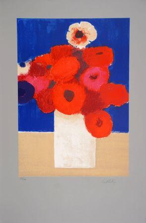 Litografia Cathelin - Bouquet d'Anémones 2 - Bouquet of Anemones 2
