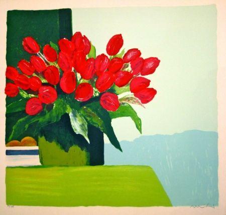 Litografia Muhl - Bouquet de tulipes rouges