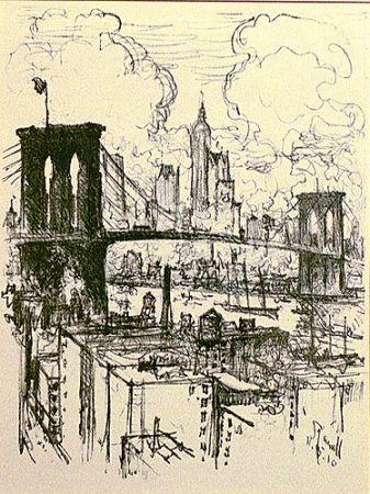 Litografia Pennell - Brooklyn Bridge