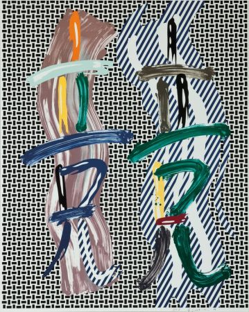 Litografia Lichtenstein - Brushstroke Contest