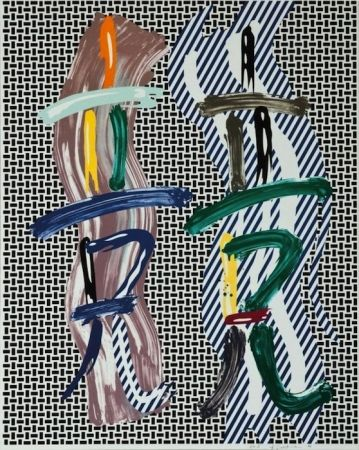 Litografia Lichtenstein - Brushstroke Contest, from Brushstroke Figure Series