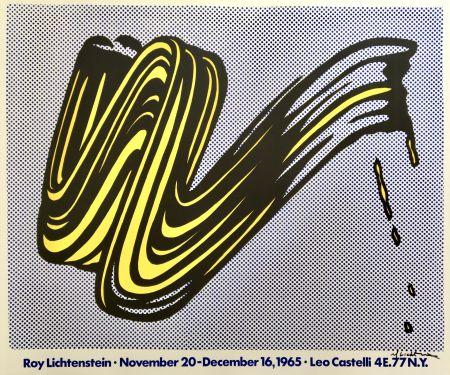 Litografia Lichtenstein - Brushstroke Hand Signed Exhibition Poster