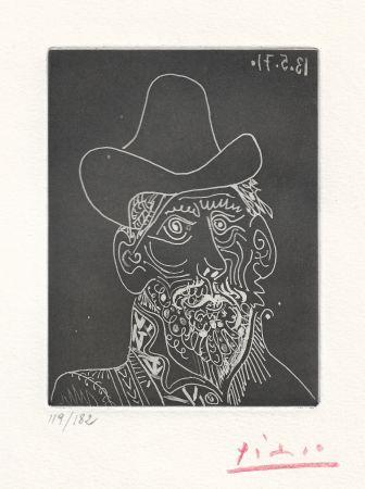 Acquatinta Picasso -  Buste d'homme barbu au chapeau