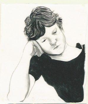 Litografia Hockney - Byron on hand