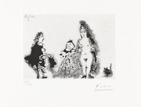 Acquatinta Picasso - CÉLESTINE ET FILLE AVEC UN CHAT ET UN JEUNE CLIENT (24 mai 1968).