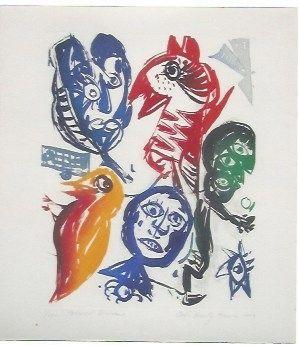 Acquatinta Pedersen - Carrousel d'oiseaux