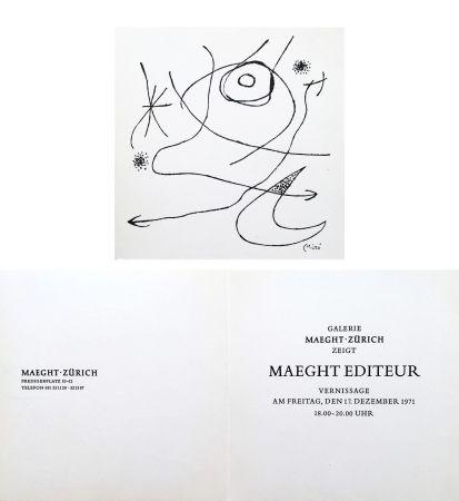 Non Tecnico Miró - Carton d'invitation pour une exposition Miró à la Galerie Maeght-Zürich. 1971.