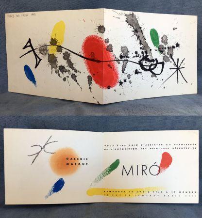 Litografia Miró - Carton d'invitation pour une exposition Miró à la Galerie Maeght. 1961.