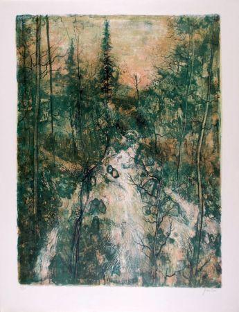 Litografia Gantner - Cascade verte - Green Falls