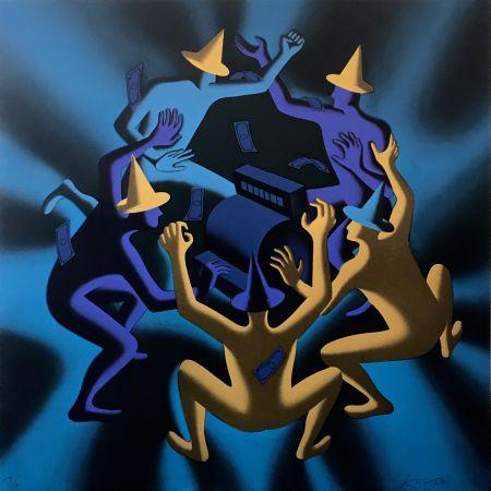 Serigrafia Kostabi - CASH DANCE (BLUE)
