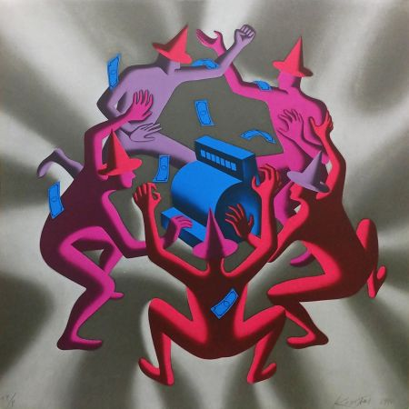Serigrafia Kostabi - CASH DANCE (GREY)