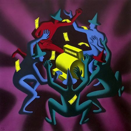 Serigrafia Kostabi - CASH DANCE (PURPLE)