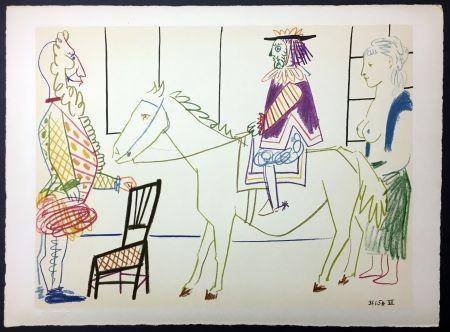 Litografia Picasso - Cavalier Costumé 1 (De La Comédie Humaine - Verve 29-30. 1954)