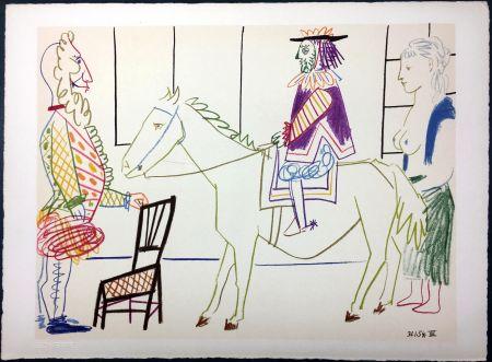 Litografia Picasso - Cavalier costumé 1 (La Comédie Humaine - Verve 29-30. 1954)