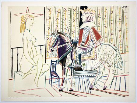 Litografia Picasso - Cavalier costumé et modèle 2 (La Comédie Humaine - Verve 29-30. 1954).