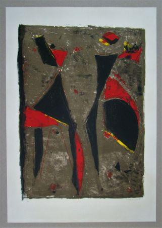 Litografia Marini - Cavalier noir et rouge sur fond brun