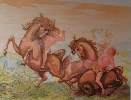 Litografia Sassu - Cavalli e cavalieri