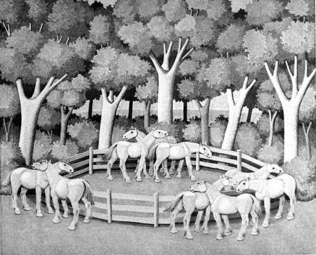 Incisione Su Legno Morena - Cavalli nel bosco