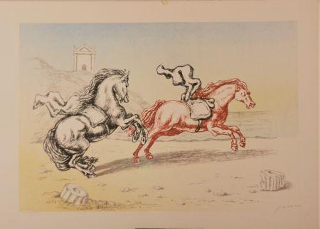 Litografia De Chirico - Cavalli sulla riva dell'Egeo