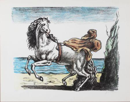 Litografia De Chirico - Cavallo con manto