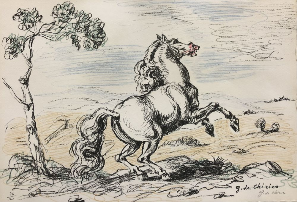 Litografia De Chirico - Cavallo in libertà