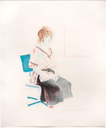 Acquaforte E Acquatinta Hockney - Celia Seated on an Office Chair