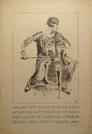 Litografia Amiet - Cello-Spielerin
