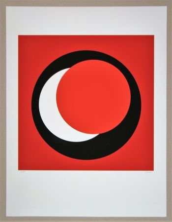 Serigrafia Claisse - Cercle rouge sur fond rouge foncé