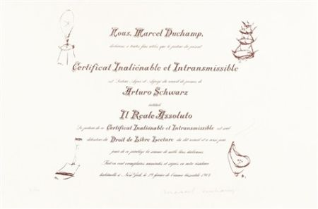 Litografia Duchamp - Certificat de Lecture