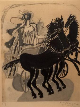 Litografia Braque - CHAR AUX CHEVAUX NOIR
