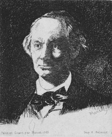 Acquaforte Manet - Charles Baudelaire de face