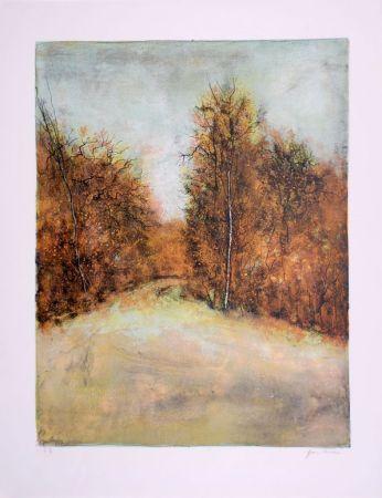 Litografia Gantner - Chemin en forêt - Forest path