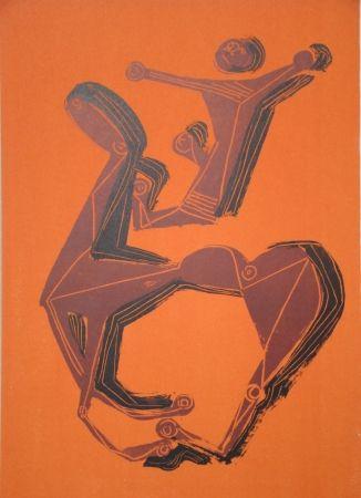 Litografia Marini - Cheval et cavalier sur fond orange