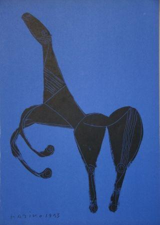 Litografia Marini - Cheval sur fond bleue