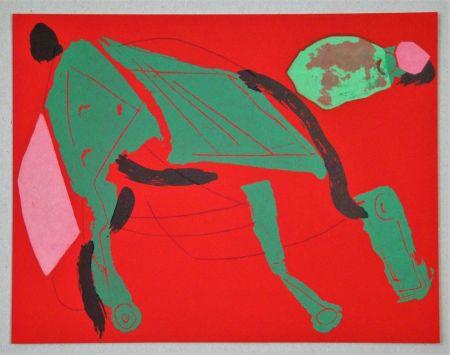 Litografia Marini - Cheval sur fond rouge