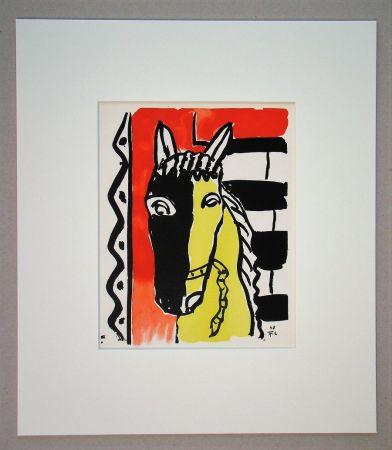 Pochoir Léger (After) - Cheval sur fond rouge, 1948