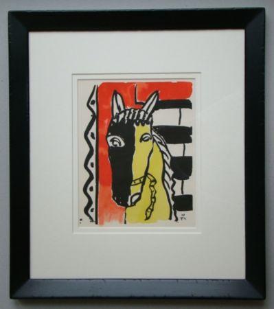 Pochoir Leger - Cheval sur fond rouge, 1948
