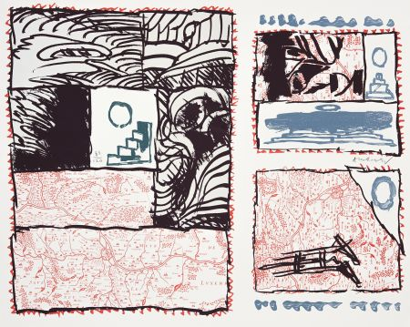 Litografia Alechinsky - Chevalet Renversé