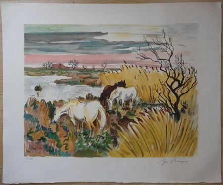 Litografia Brayer - Chevaux en Camargue