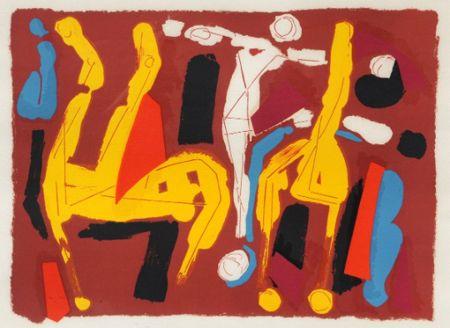 Litografia Marini -  Chevaux et cavalier V, 1974