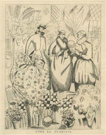 Acquaforte Laboureur - Chez la floriste (fleuriste)