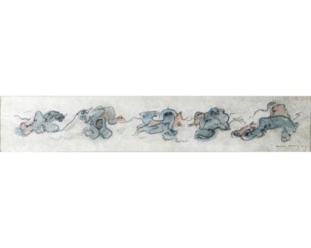 Non Tecnico Tanning - CHIENS FOUS. Aquarelle, crayon gras sur papier Japon nacré